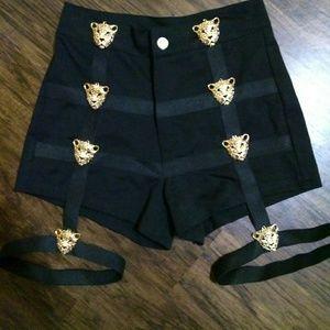 Goth bandage pinup high waist black shorts Med NEW
